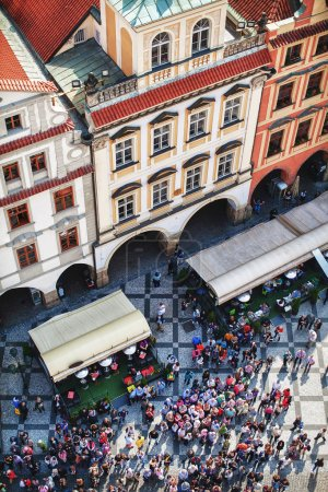 View of the area and people from above, Prague