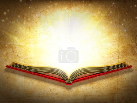 Photo for Illustration of opened book shining against the ancient paper backgroung. - Royalty Free Image