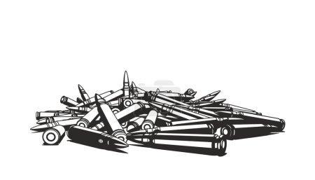 Illustration pour Composition de plusieurs balles de fusil en laiton brillant sur fond blanc - image libre de droit