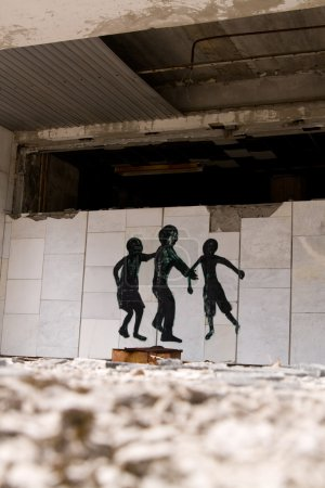 Graffiti on abandoned central square in Pripyat ghost town, Cher