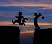 Concept cartoon silhouette, Man hold axe and  Man jumping over p