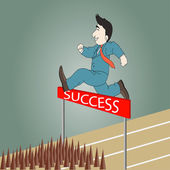 Businessman jumping over hurdle to success
