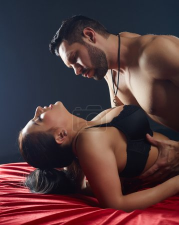 Close-up of passionate lovers having hot sex