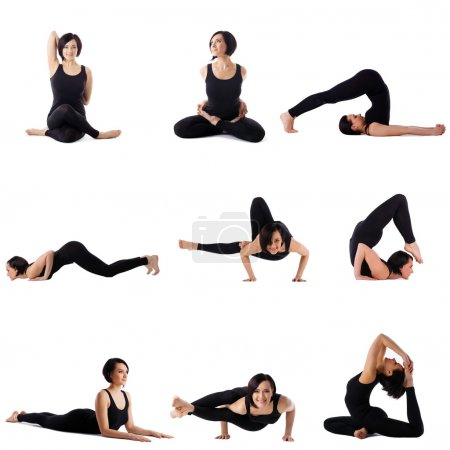 Collection of brunette doing stretching exercises