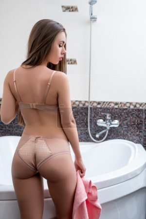 Bathroom. Back view of brunette in erotic lingerie