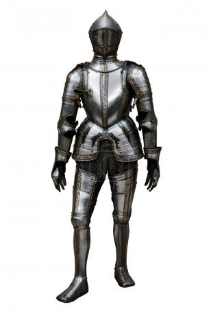 Knight in Hungarian National Museum isolated on wh...