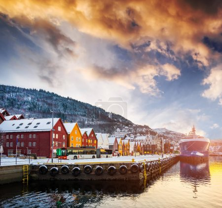 Bryggen street in the bay in Bergen, Norway