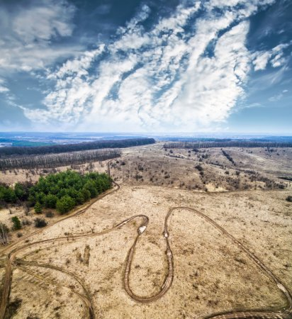 Photo for Racing tracks and landscape in countryside from height - Royalty Free Image