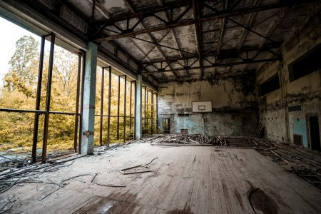 gym in abandoned Pripyat school