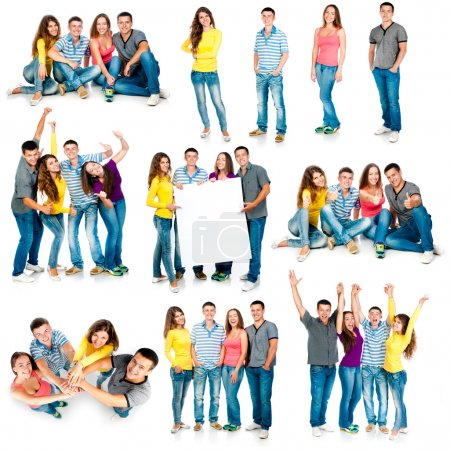 Photo for Photo collage of four students are isolated on a white background - Royalty Free Image