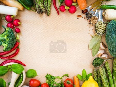 Photo for Frame of Fresh vegetables on a brown background - Royalty Free Image