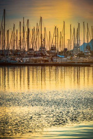 Photo for Beautiful marina view, sailboats and motorboats in port - Royalty Free Image
