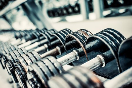 Photo for Sports dumbbells in modern sports club. Weight Training Equipment - Royalty Free Image