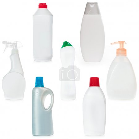 different bottles of household chemicals