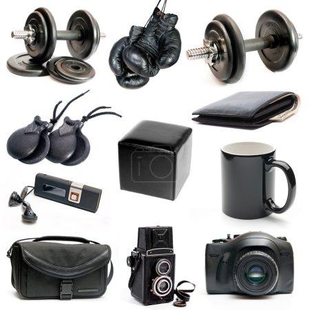 Photo pour Différents objets noirs isolés sur un fond blanc - image libre de droit