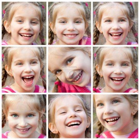 Photo pour Collage de visage petite fille mignonne riant joyeusement - image libre de droit