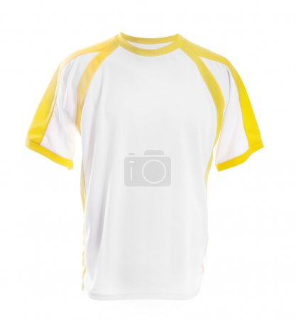 White t-shirt with yellow insets