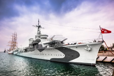 Warship  destroyer serving in the Polish Navy duri...