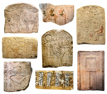Ancient Egyptian drawings on rocks