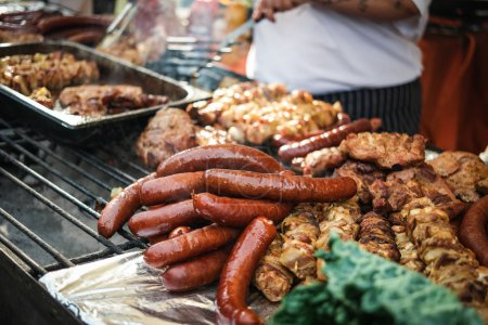 sausages and cooking meat
