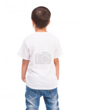 back of a little boy in white shirt
