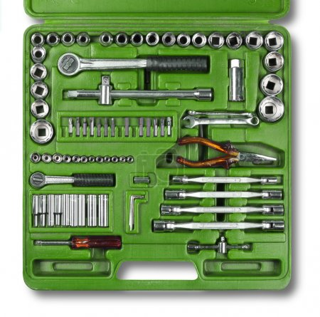 Photo for Mechanic tools kit isolated on white background - Royalty Free Image