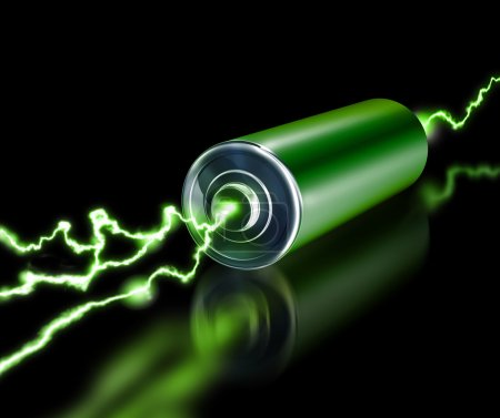 Photo for Green energy power supply battery sparks on dark background - Royalty Free Image