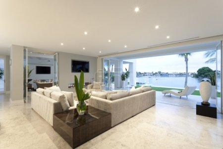 Beautiful living room open to a yard