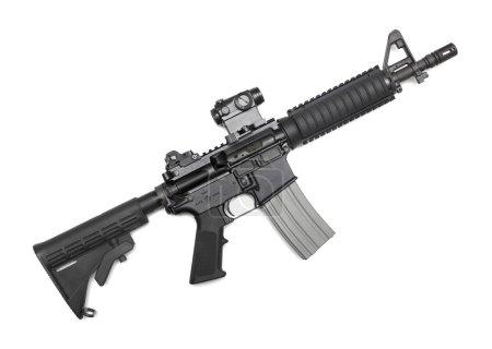 Photo pour M4A1 CQBR, Mk18 Mod.0 Carabine tactique avec visée micro (point rouge). Isolé sur blanc - image libre de droit