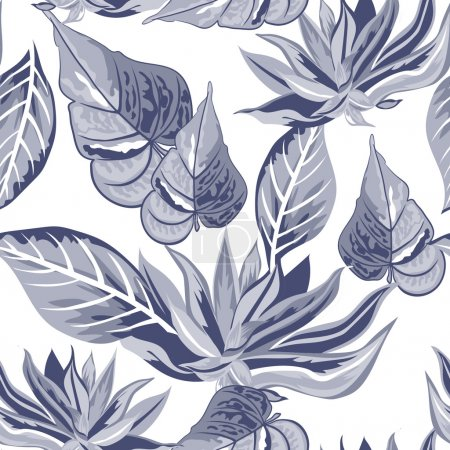 Illustration for Vector tropical seamless floral pattern. - Royalty Free Image