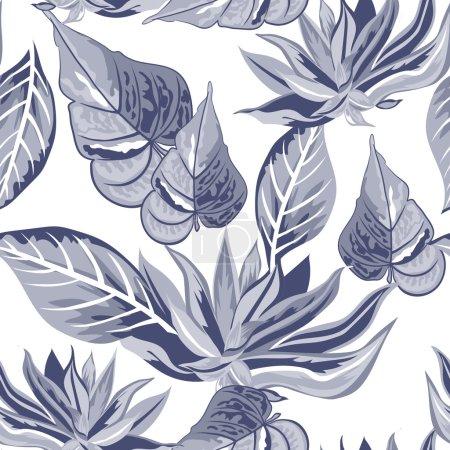Illustration pour Vecteur tropical motif floral sans couture . - image libre de droit