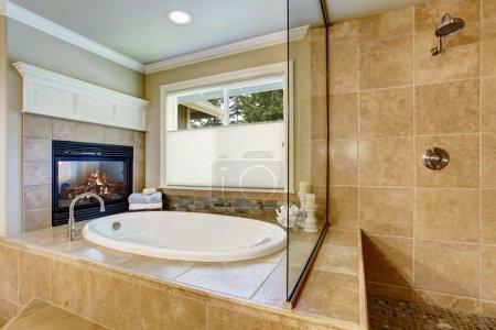 Classic American bathroom with whithe bath tub