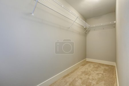 Empty narrow walk-in closet with shelves and carpet floor.