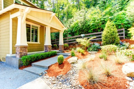 American achitecture. Walkout basement porch with ...