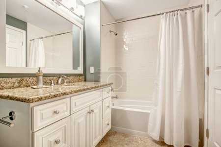 White bathroom vanity cabinet with granite top and white white b