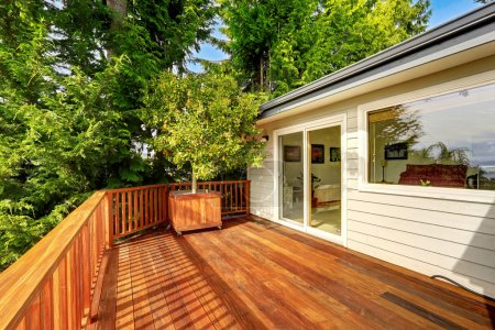 Wooden walkout deck with railings and decorated with tree.