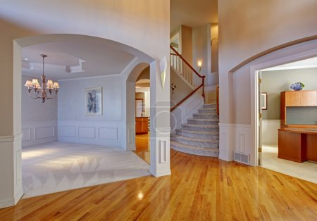 Luxury house interior with archways and high ceiling