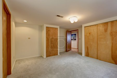 Photo for Empty basement room with closets. Wooden sliding doors - Royalty Free Image