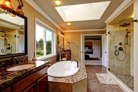 Luxury bathroom interior with bath tub and glass door shower