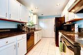 Bílá kuchyň pokoj s černým spotřebiče