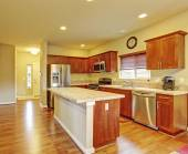 Klasické kuchyně s dřevěnou podlahu