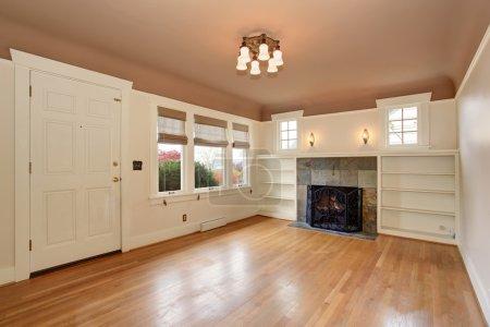Photo pour Salle de séjour confortable avec peinture d'intérieur rose et blanche, y compris cheminée. - image libre de droit