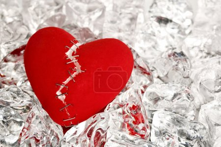 Photo for Broken love heart on ice cubes - Royalty Free Image