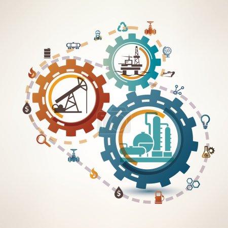 Illustration pour Infographie de l'industrie pétrolière et gazière, extraction, transformation et trasportation, processus et icônes - image libre de droit