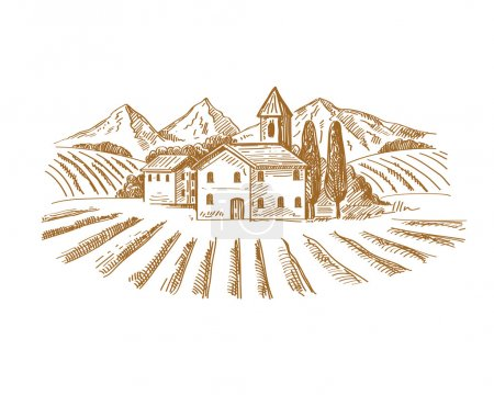 Illustration for Vector hand drawn image of village and landscape - Royalty Free Image