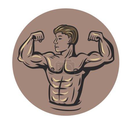 vector bodybuilder in round