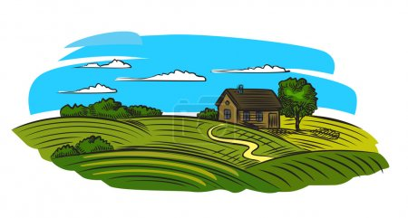 Illustration for Vector doodle image of village and landscape - Royalty Free Image