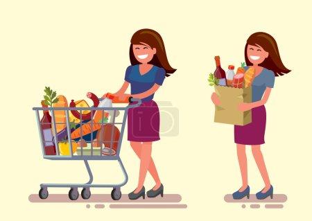 Illustration pour Vecteur femme dans supermarché avec panier - image libre de droit