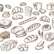 Vector hand drawn bread on white background...