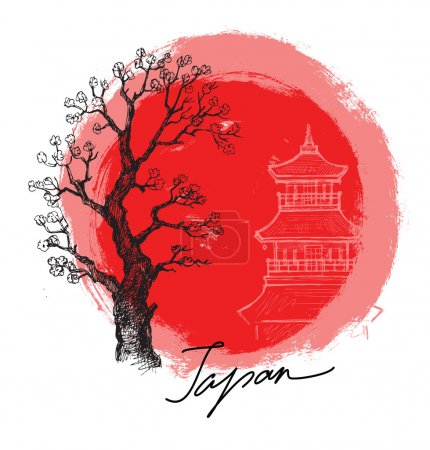Illustration for Vector hand drawn bamboo in red sun - Royalty Free Image